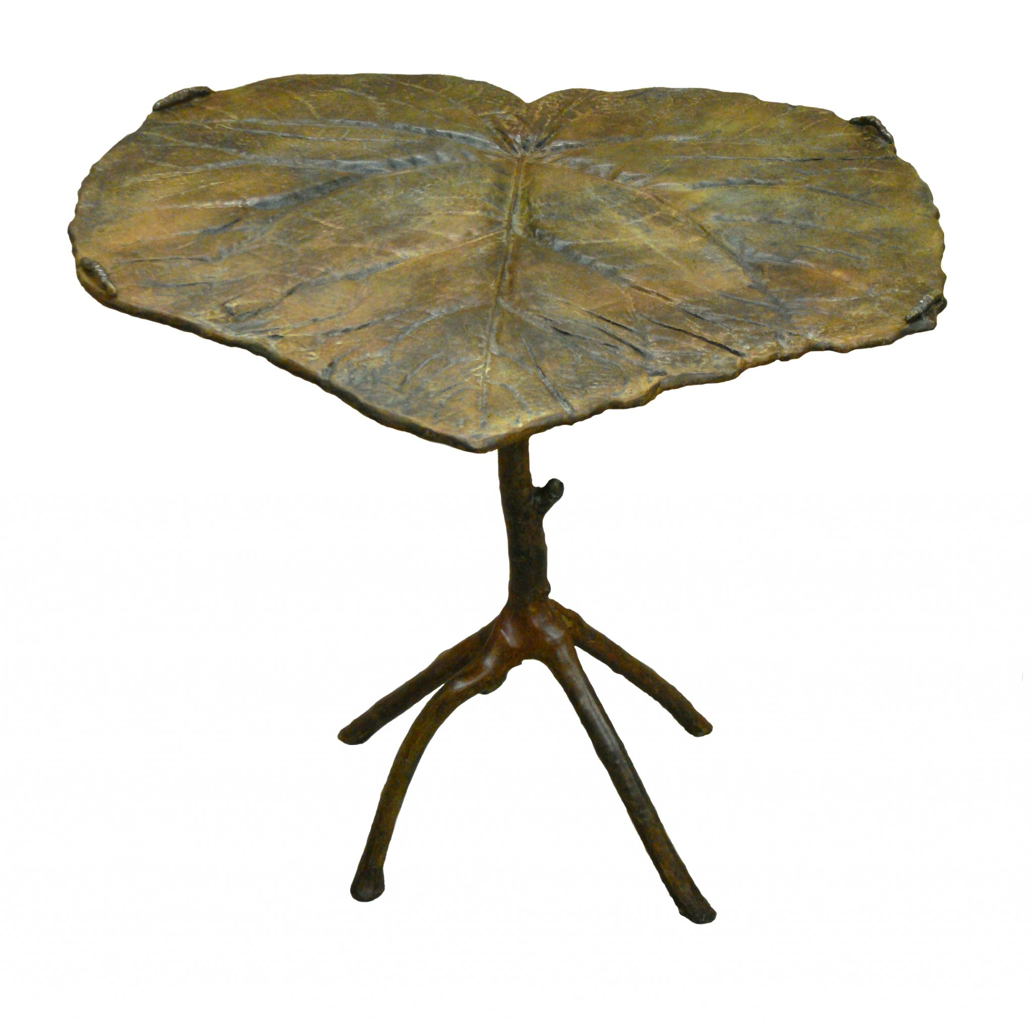 Bronze sculpture leaf table