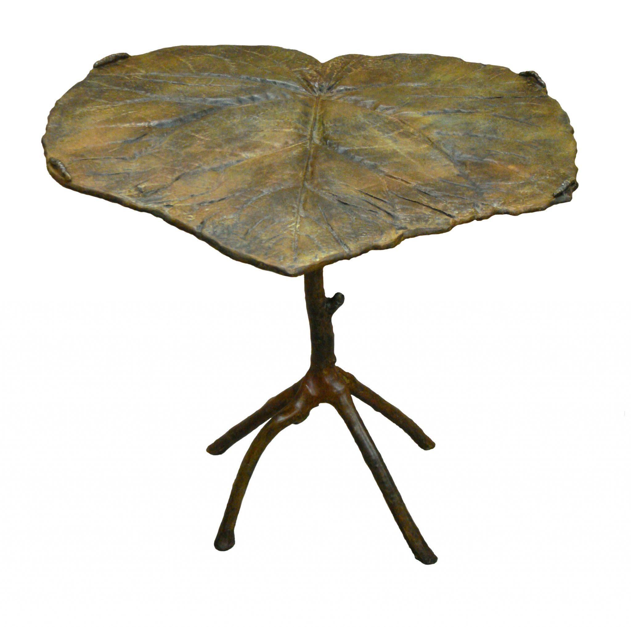 Bronze sculpture leaf table